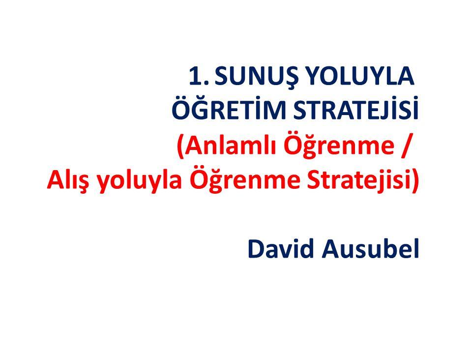 SUNUŞ YOLUYLA ÖĞRETİM STRATEJİSİ (Anlamlı Öğrenme / Alış yoluyla Öğrenme Stratejisi) David Ausubel
