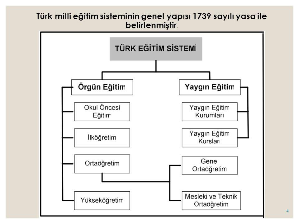 Türk milli eğitim sisteminin genel yapısı 1739 sayılı yasa ile belirlenmiştir.