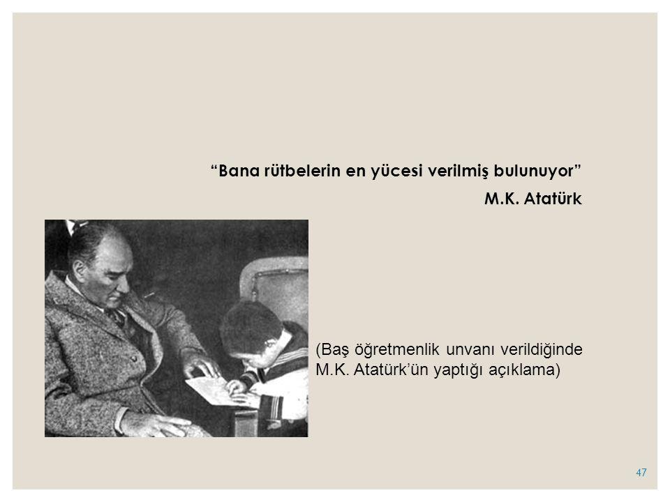 Bana rütbelerin en yücesi verilmiş bulunuyor M.K. Atatürk