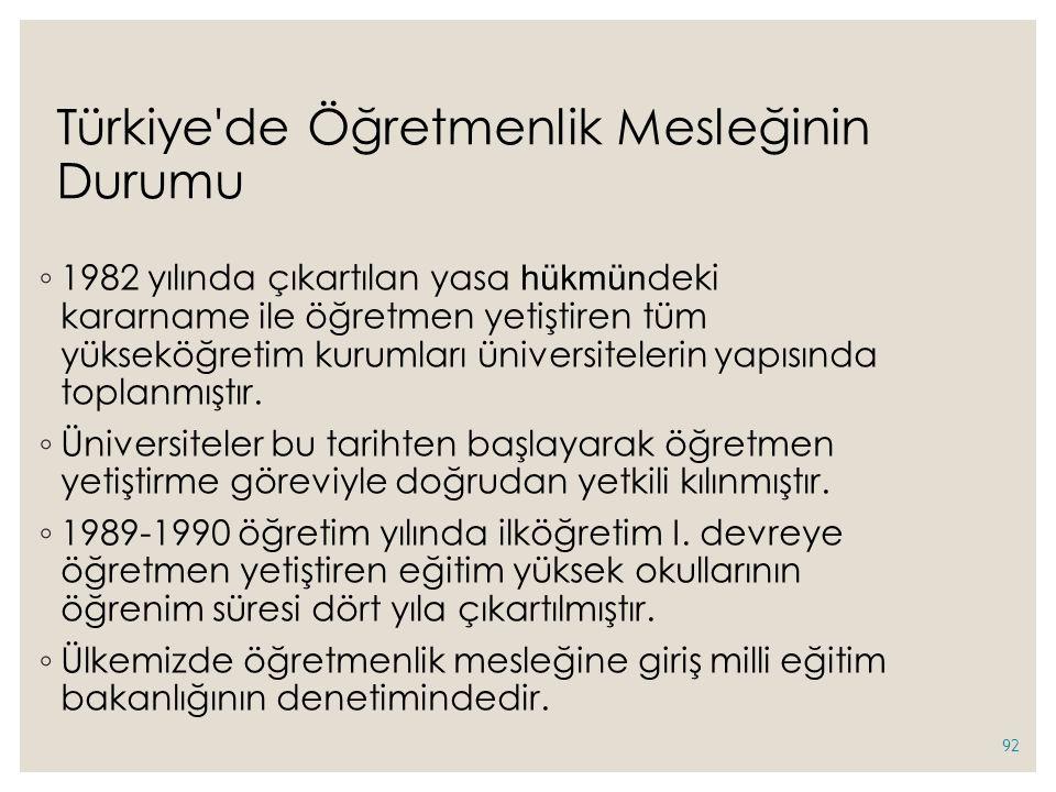 Türkiye de Öğretmenlik Mesleğinin Durumu