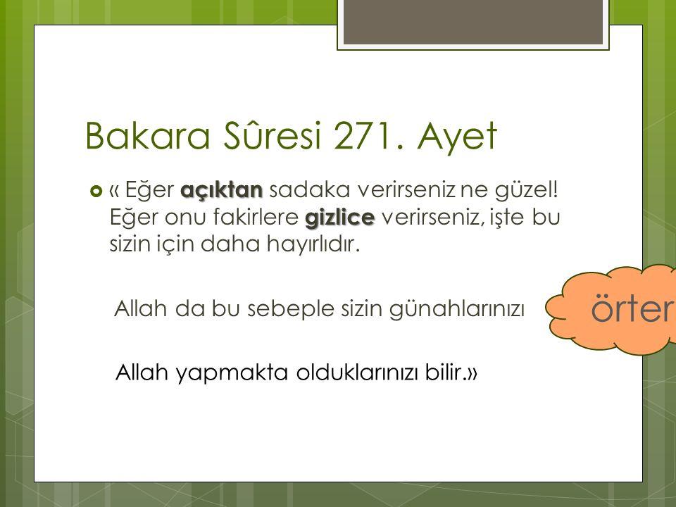 Bakara Sûresi 271. Ayet örter