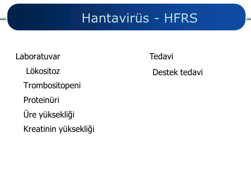 Hantavirüs - HFRS Tedavi Laboratuvar Destek tedavi Lökositoz