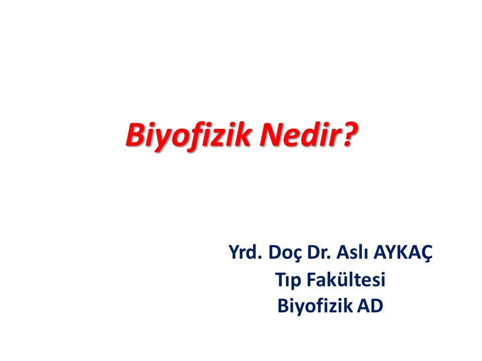 Yrd. Doç Dr. Aslı AYKAÇ Tıp Fakültesi Biyofizik AD