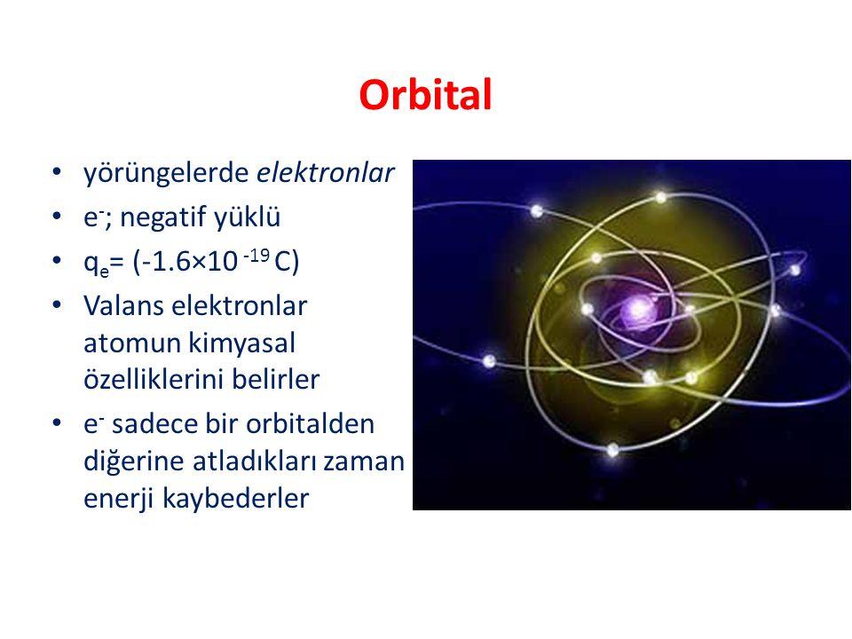 Orbital yörüngelerde elektronlar e-; negatif yüklü qe= (-1.6×10 -19 C)