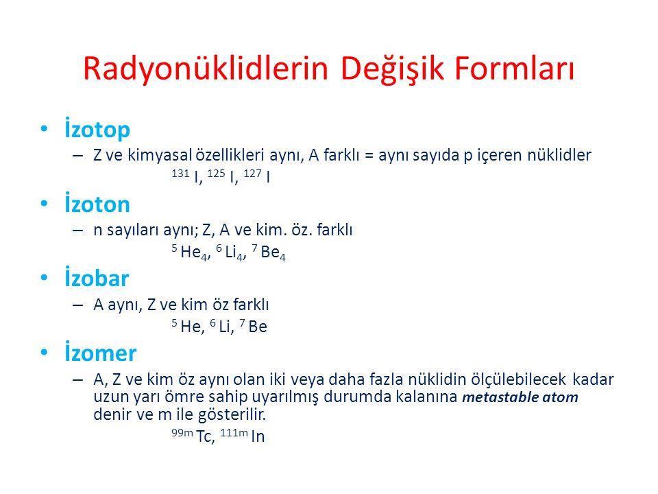 Radyonüklidlerin Değişik Formları