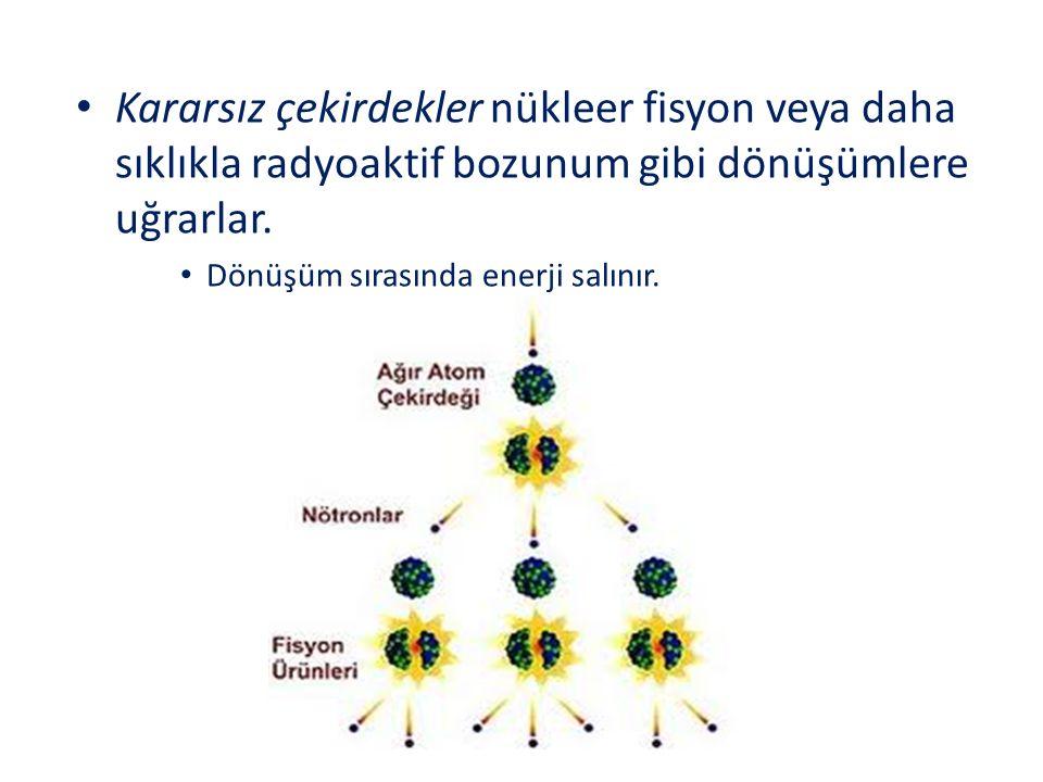 Kararsız çekirdekler nükleer fisyon veya daha sıklıkla radyoaktif bozunum gibi dönüşümlere uğrarlar.