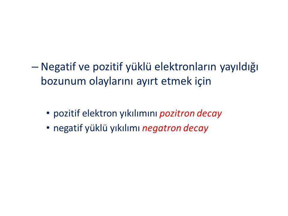 Negatif ve pozitif yüklü elektronların yayıldığı bozunum olaylarını ayırt etmek için