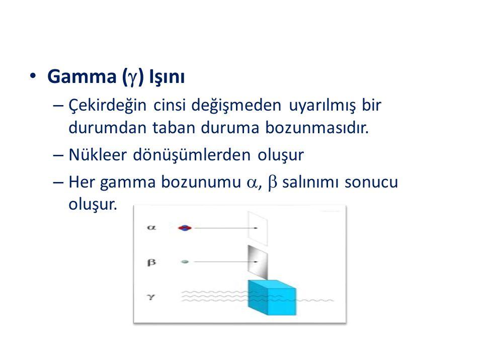Gamma () Işını Çekirdeğin cinsi değişmeden uyarılmış bir durumdan taban duruma bozunmasıdır. Nükleer dönüşümlerden oluşur.
