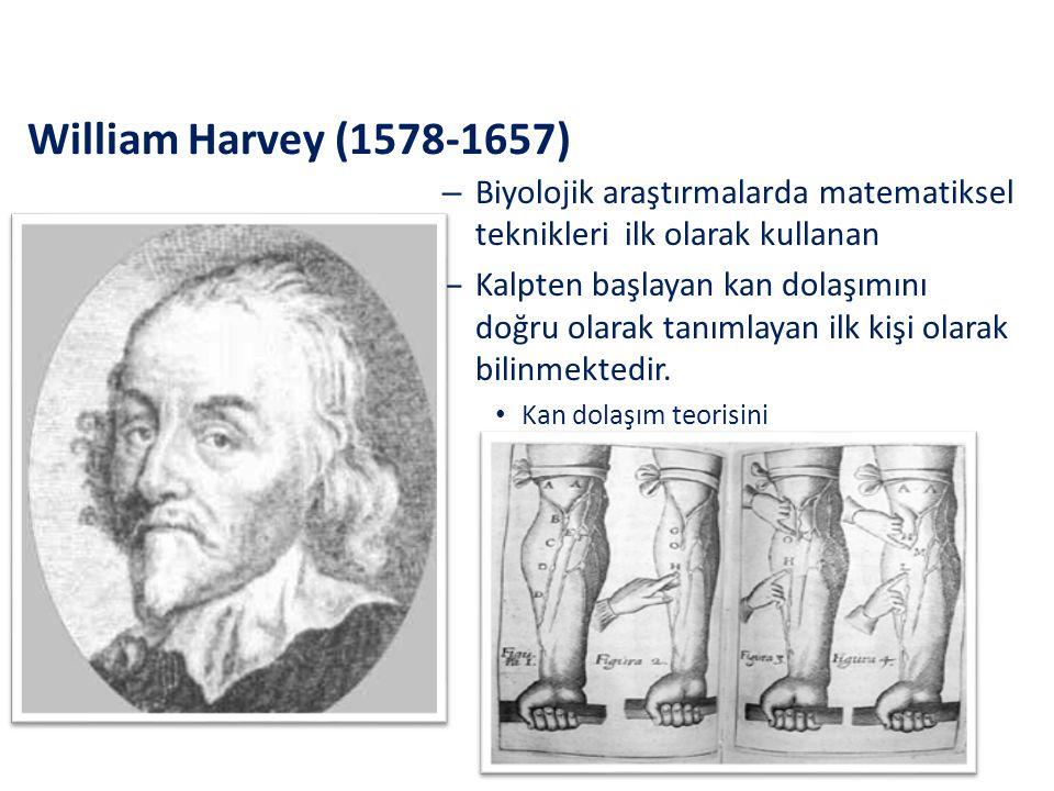 William Harvey (1578-1657) Biyolojik araştırmalarda matematiksel teknikleri ilk olarak kullanan.