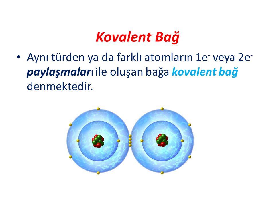 Kovalent Bağ Aynı türden ya da farklı atomların 1e- veya 2e- paylaşmaları ile oluşan bağa kovalent bağ denmektedir.