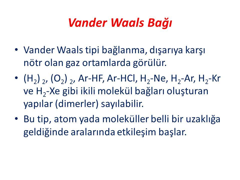 Vander Waals Bağı Vander Waals tipi bağlanma, dışarıya karşı nötr olan gaz ortamlarda görülür.