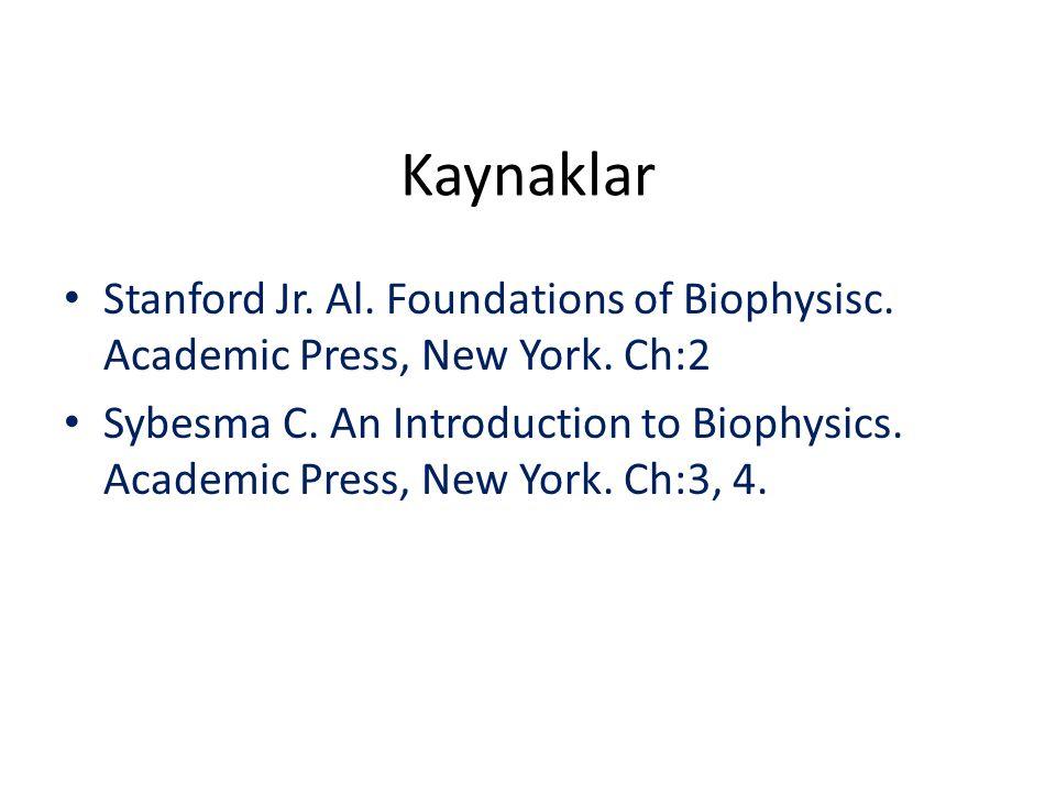 Kaynaklar Stanford Jr. Al. Foundations of Biophysisc. Academic Press, New York. Ch:2.