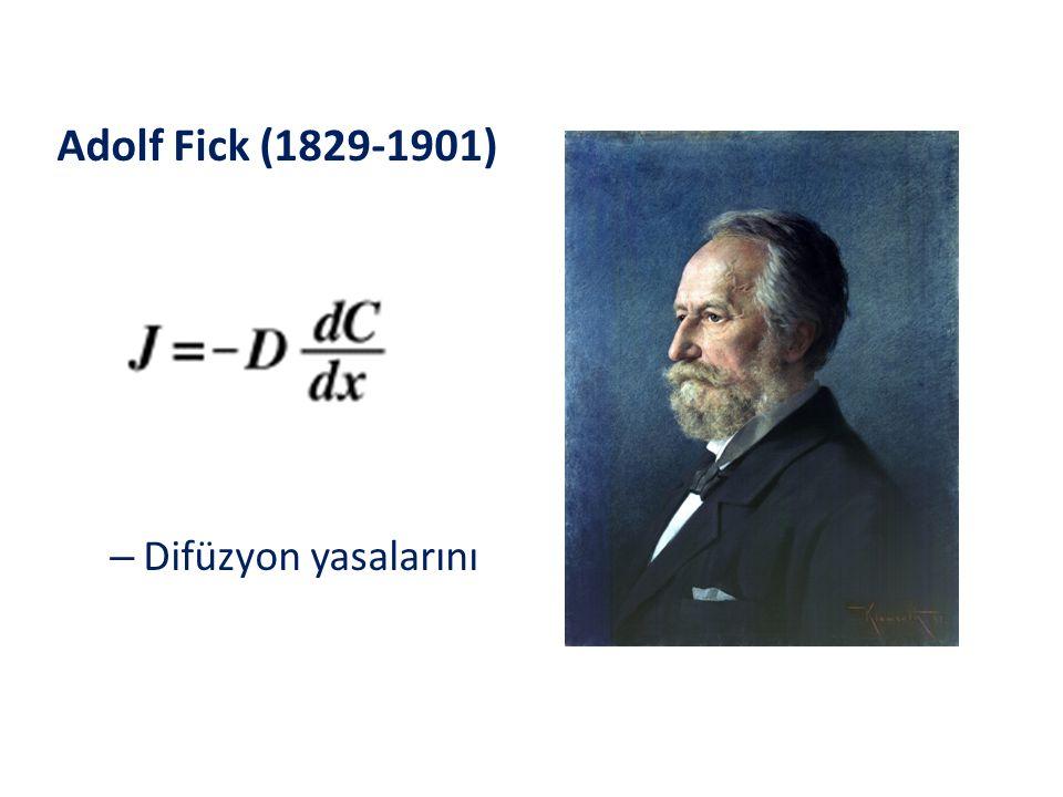 Adolf Fick (1829-1901) Difüzyon yasalarını