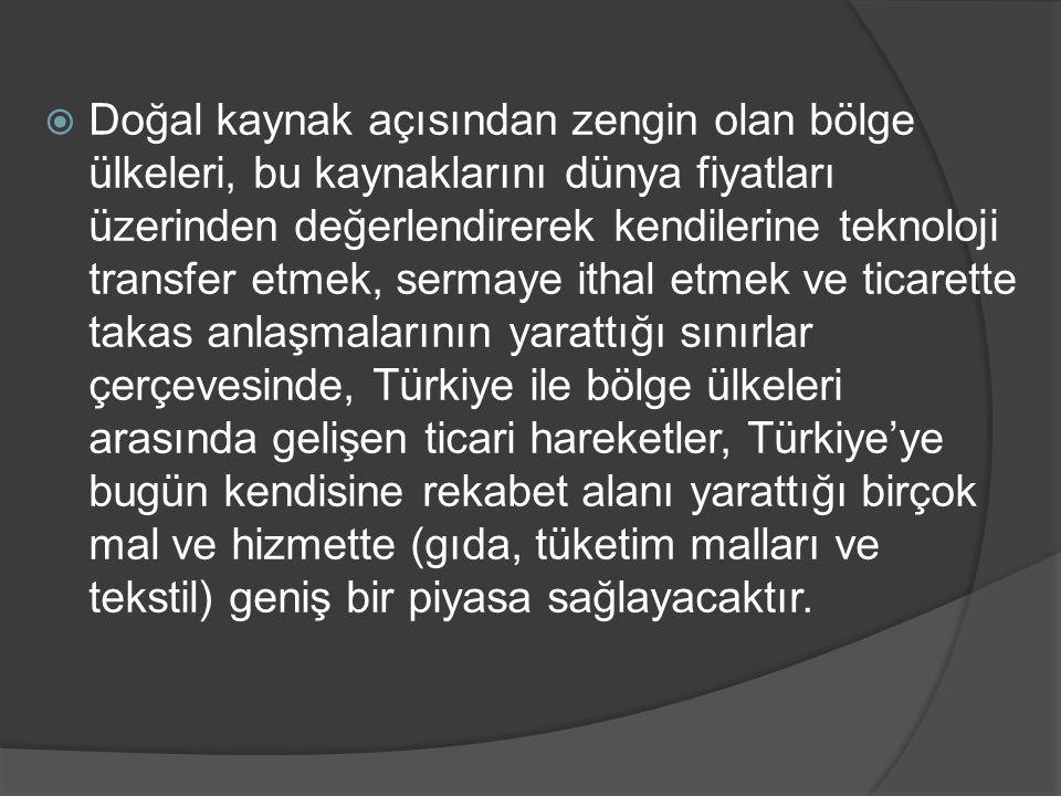 Doğal kaynak açısından zengin olan bölge ülkeleri, bu kaynaklarını dünya fiyatları üzerinden değerlendirerek kendilerine teknoloji transfer etmek, sermaye ithal etmek ve ticarette takas anlaşmalarının yarattığı sınırlar çerçevesinde, Türkiye ile bölge ülkeleri arasında gelişen ticari hareketler, Türkiye'ye bugün kendisine rekabet alanı yarattığı birçok mal ve hizmette (gıda, tüketim malları ve tekstil) geniş bir piyasa sağlayacaktır.