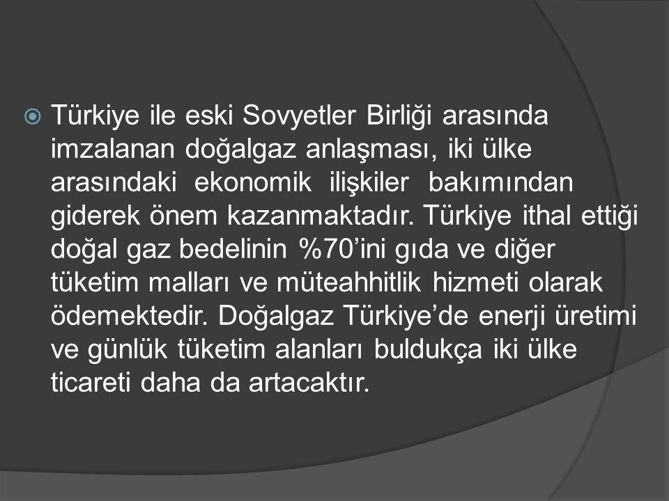 Türkiye ile eski Sovyetler Birliği arasında imzalanan doğalgaz anlaşması, iki ülke arasındaki ekonomik ilişkiler bakımından giderek önem kazanmaktadır.