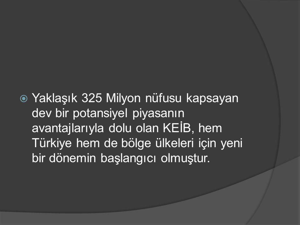 Yaklaşık 325 Milyon nüfusu kapsayan dev bir potansiyel piyasanın avantajlarıyla dolu olan KEİB, hem Türkiye hem de bölge ülkeleri için yeni bir dönemin başlangıcı olmuştur.