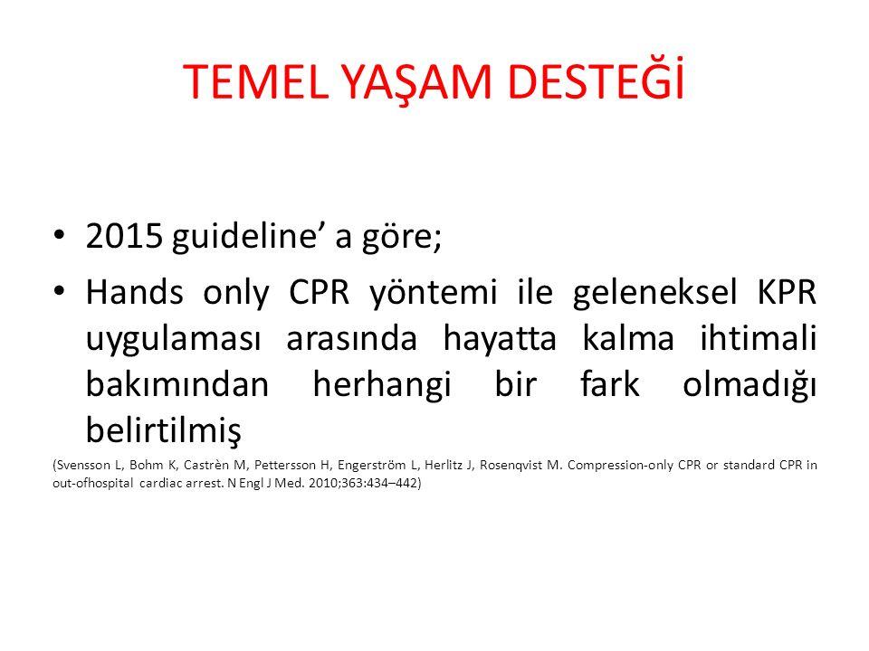 TEMEL YAŞAM DESTEĞİ 2015 guideline' a göre;