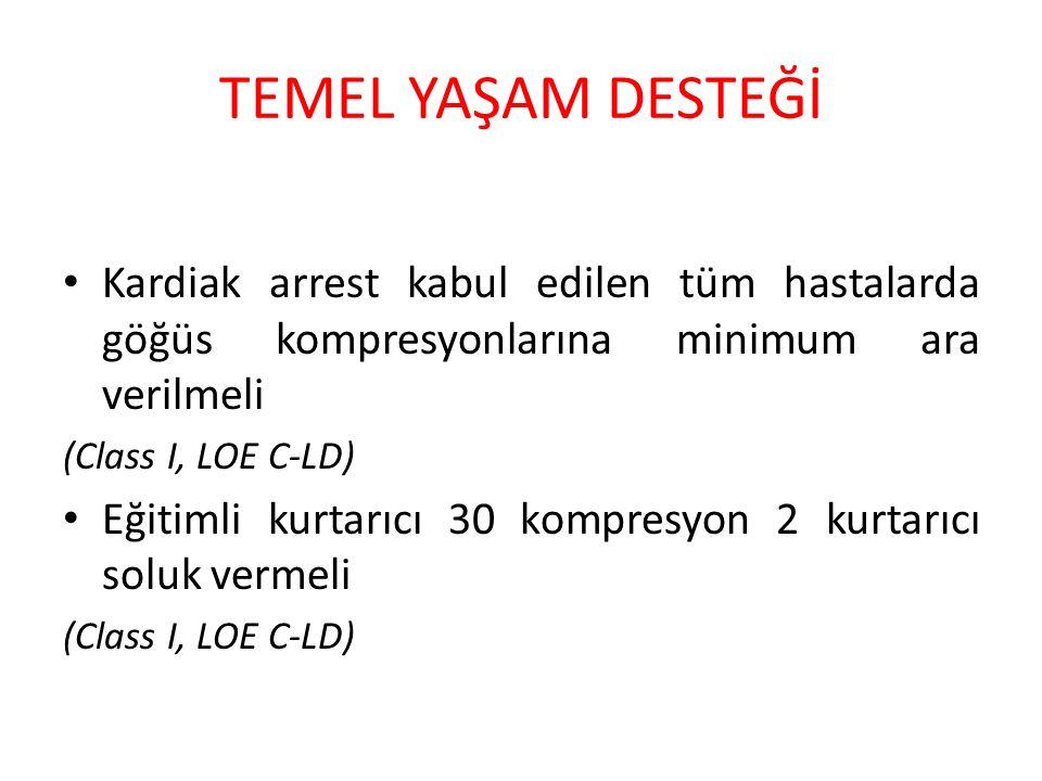 TEMEL YAŞAM DESTEĞİ Kardiak arrest kabul edilen tüm hastalarda göğüs kompresyonlarına minimum ara verilmeli.