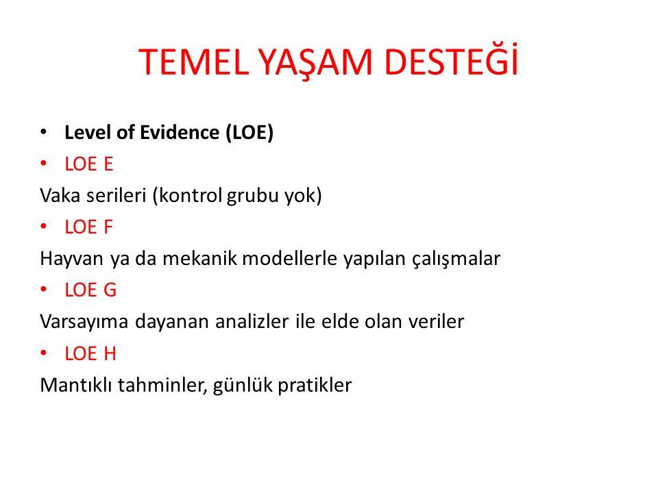 TEMEL YAŞAM DESTEĞİ Level of Evidence (LOE) LOE E