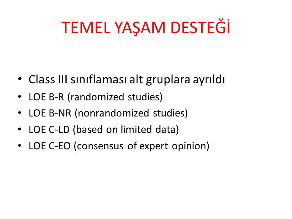 TEMEL YAŞAM DESTEĞİ Class III sınıflaması alt gruplara ayrıldı