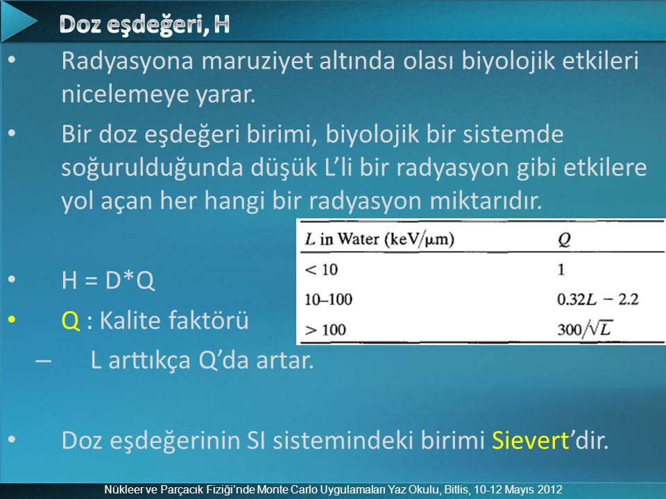 Doz eşdeğerinin SI sistemindeki birimi Sievert'dir.