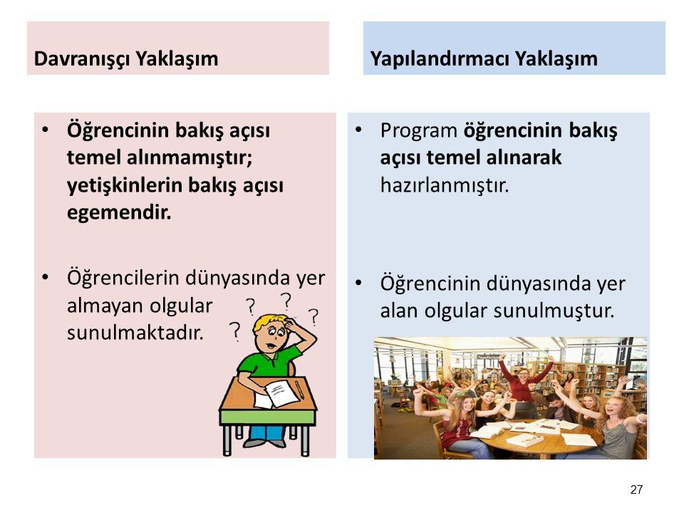 Davranışçı Yaklaşım Yapılandırmacı Yaklaşım. Öğrencinin bakış açısı temel alınmamıştır; yetişkinlerin bakış açısı egemendir.