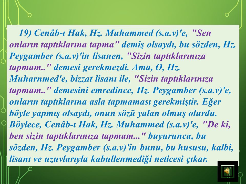 19) Cenâb-ı Hak, Hz. Muhammed (s. a