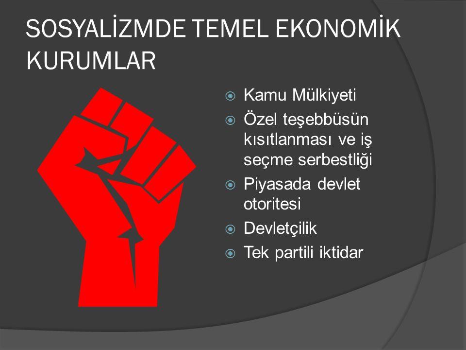 SOSYALİZMDE TEMEL EKONOMİK KURUMLAR