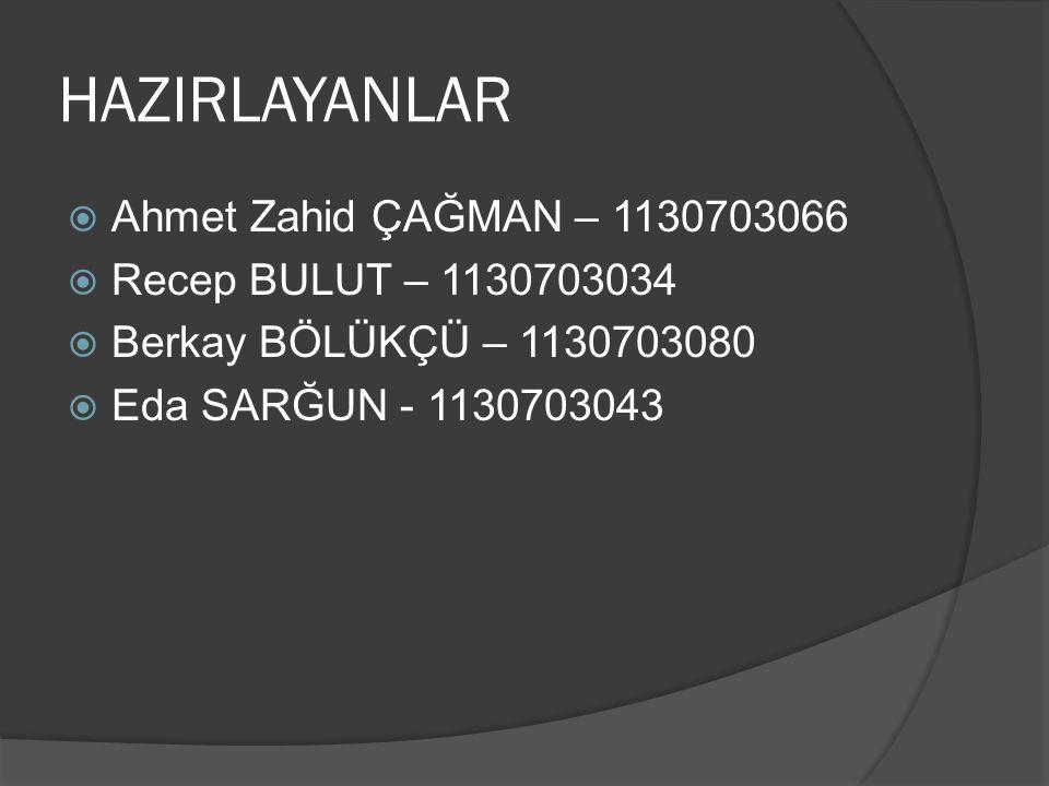 HAZIRLAYANLAR Ahmet Zahid ÇAĞMAN – 1130703066 Recep BULUT – 1130703034
