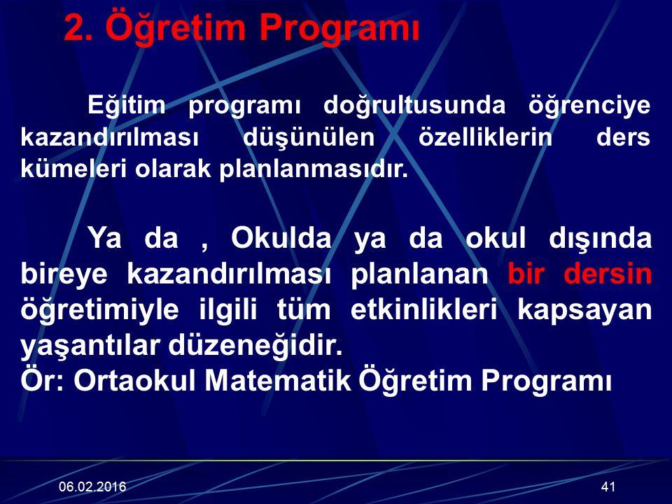 Ör: Ortaokul Matematik Öğretim Programı