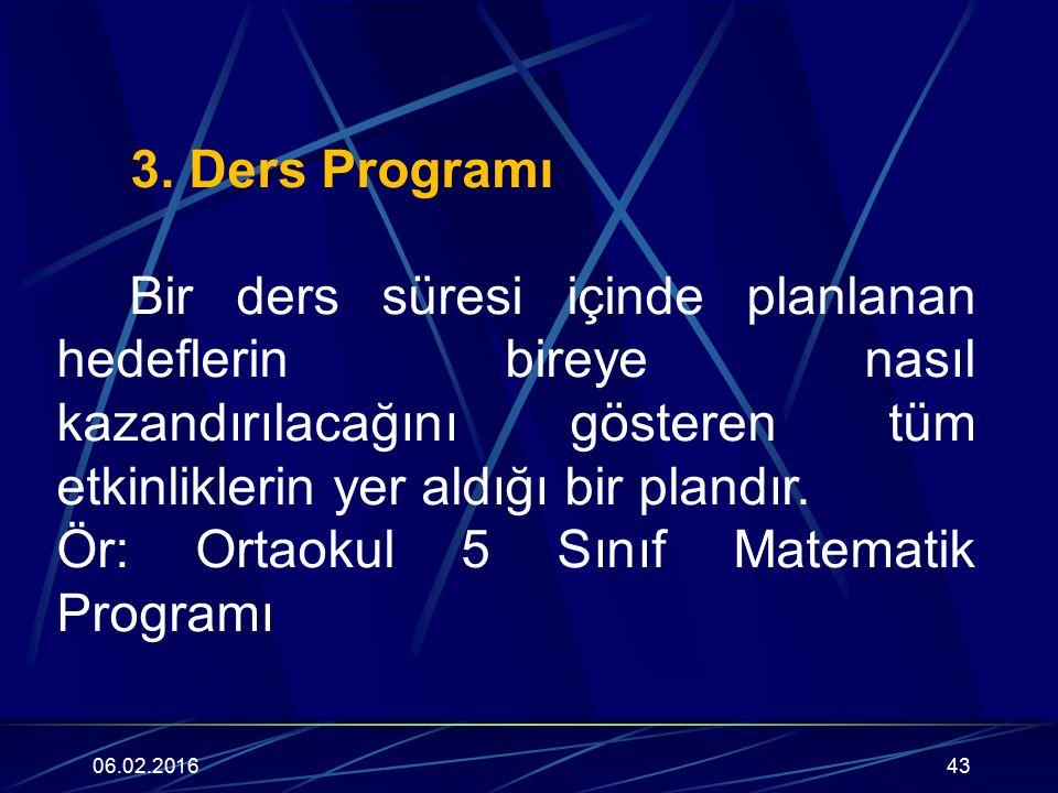 Ör: Ortaokul 5 Sınıf Matematik Programı