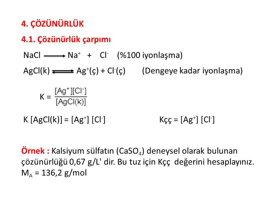 4. ÇÖZÜNÜRLÜK 4.1. Çözünürlük çarpımı. NaCl Na+ + Cl- (%100 iyonlaşma)