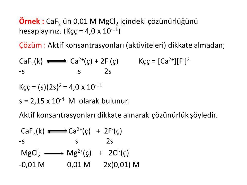 Örnek : CaF2 ün 0,01 M MgCl2 içindeki çözünürlüğünü hesaplayınız