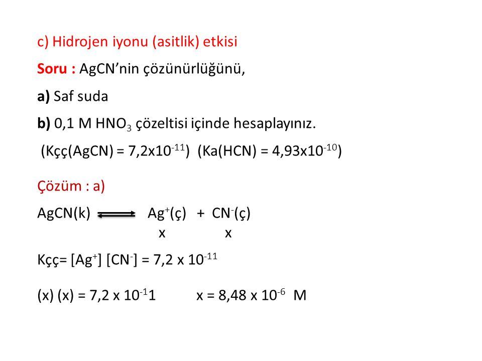 c) Hidrojen iyonu (asitlik) etkisi