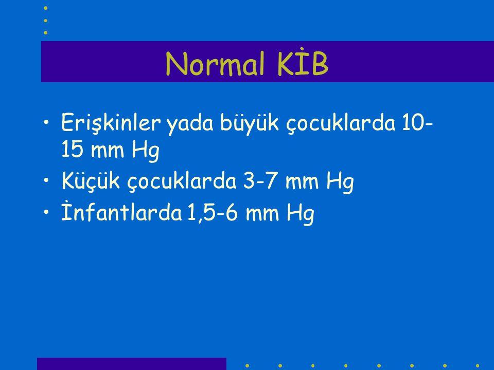 Normal KİB Erişkinler yada büyük çocuklarda 10-15 mm Hg