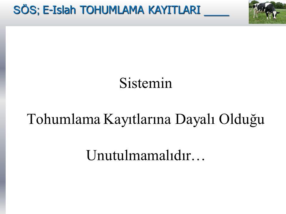 Sistemin Tohumlama Kayıtlarına Dayalı Olduğu Unutulmamalıdır…