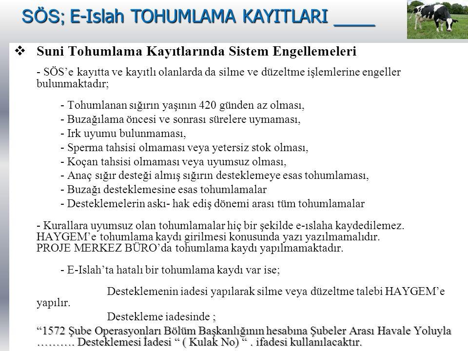 SÖS; E-Islah TOHUMLAMA KAYITLARI ____