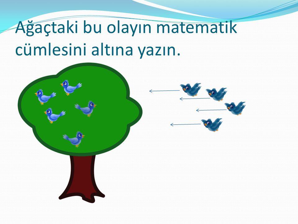 Ağaçtaki bu olayın matematik cümlesini altına yazın.