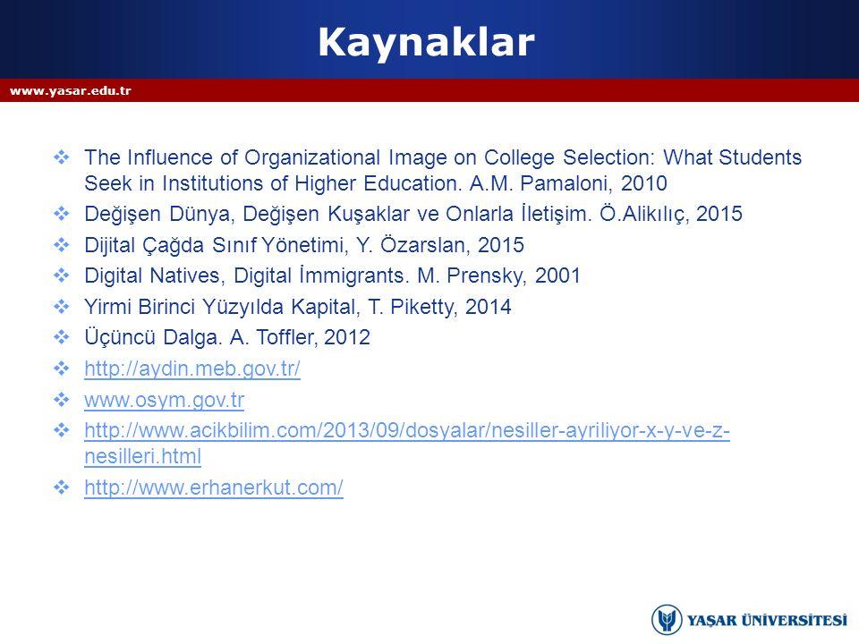 Kaynaklar www.yasar.edu.tr.