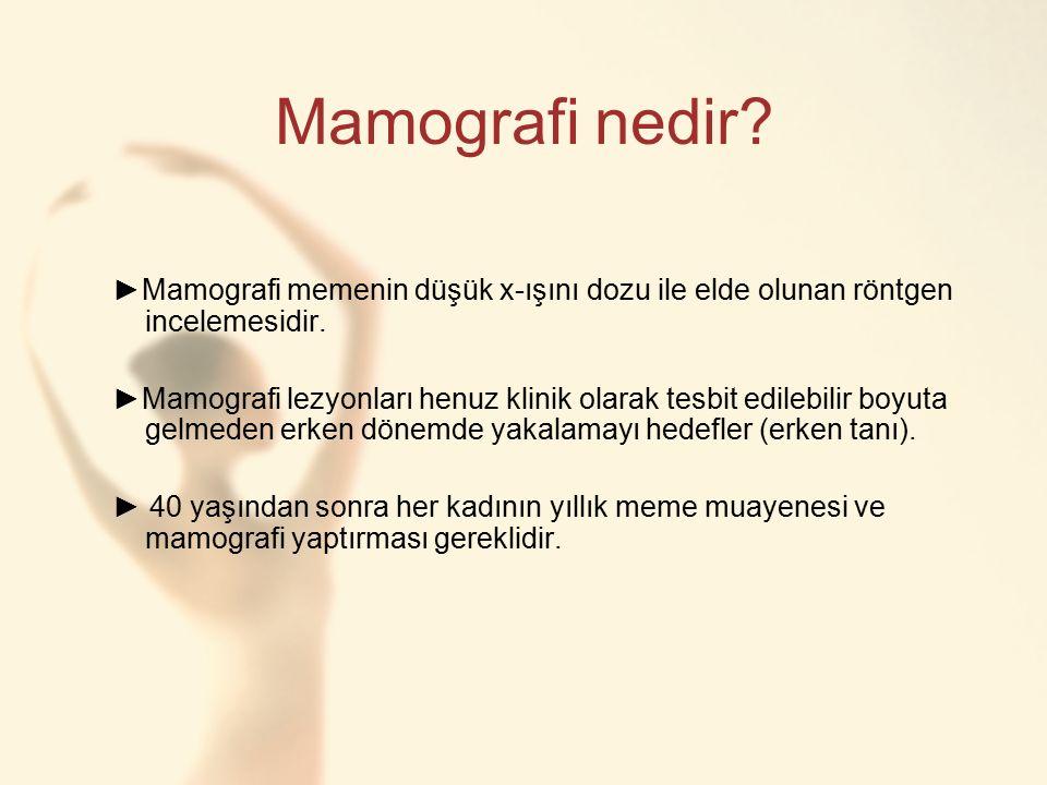 Mamografi nedir ►Mamografi memenin düşük x-ışını dozu ile elde olunan röntgen incelemesidir.