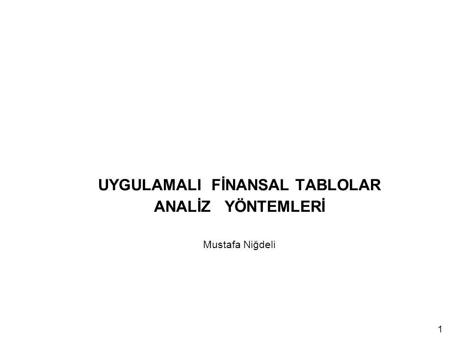 UYGULAMALI FİNANSAL TABLOLAR ANALİZ YÖNTEMLERİ Mustafa Niğdeli