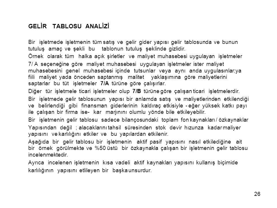 GELİR TABLOSU ANALİZİ