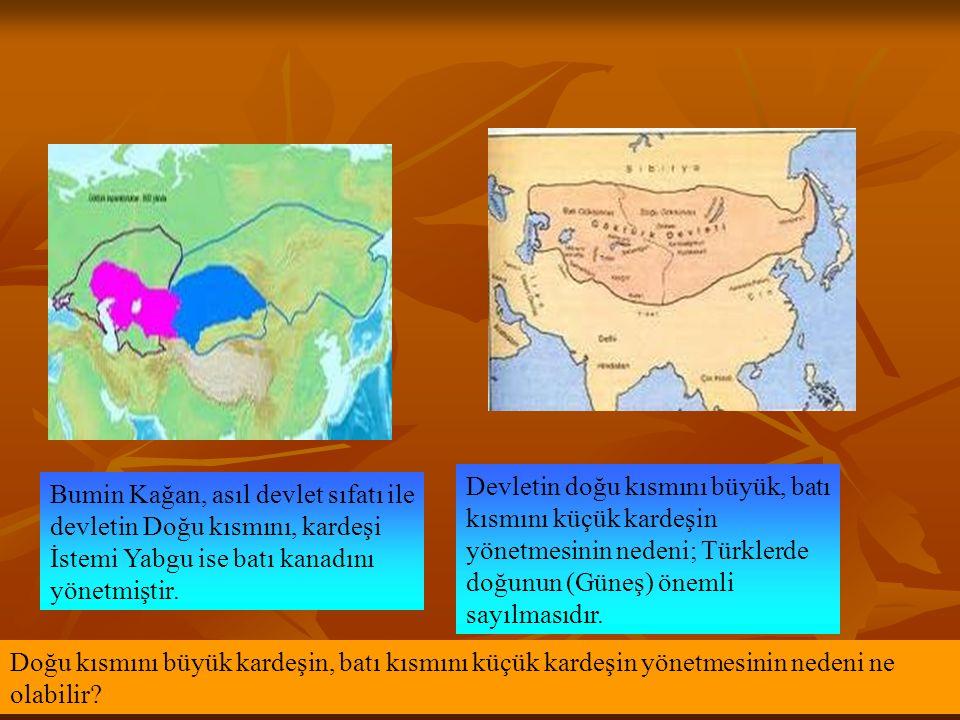 Devletin doğu kısmını büyük, batı kısmını küçük kardeşin yönetmesinin nedeni; Türklerde doğunun (Güneş) önemli sayılmasıdır.