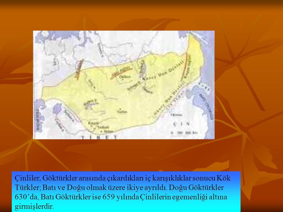 Çinliler, Göktürkler arasında çıkardıkları iç karışıklıklar sonucu Kök Türkler; Batı ve Doğu olmak üzere ikiye ayrıldı.