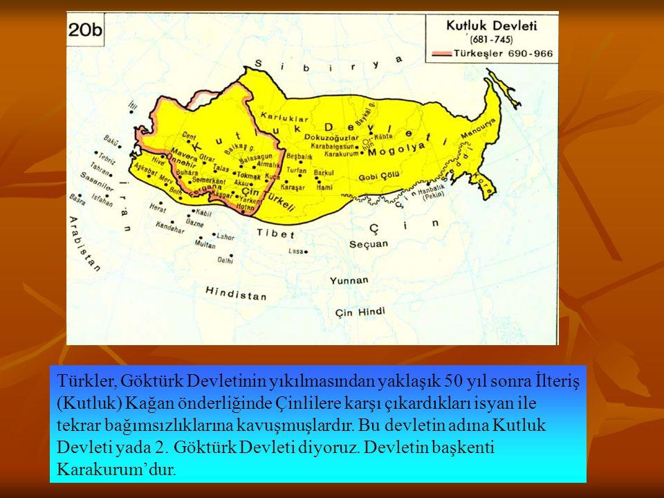 Türkler, Göktürk Devletinin yıkılmasından yaklaşık 50 yıl sonra İlteriş (Kutluk) Kağan önderliğinde Çinlilere karşı çıkardıkları isyan ile tekrar bağımsızlıklarına kavuşmuşlardır.