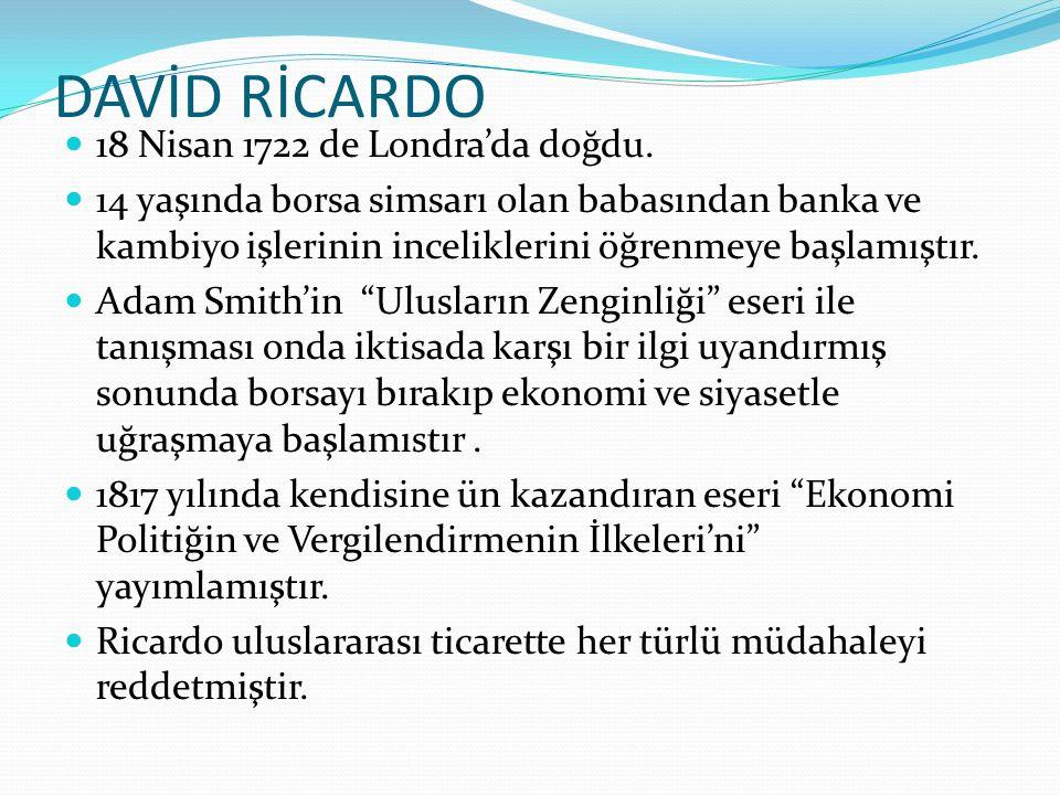 DAVİD RİCARDO 18 Nisan 1722 de Londra'da doğdu.