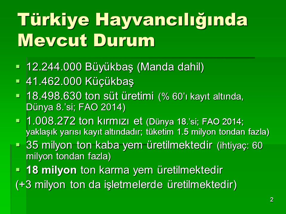 Türkiye Hayvancılığında Mevcut Durum