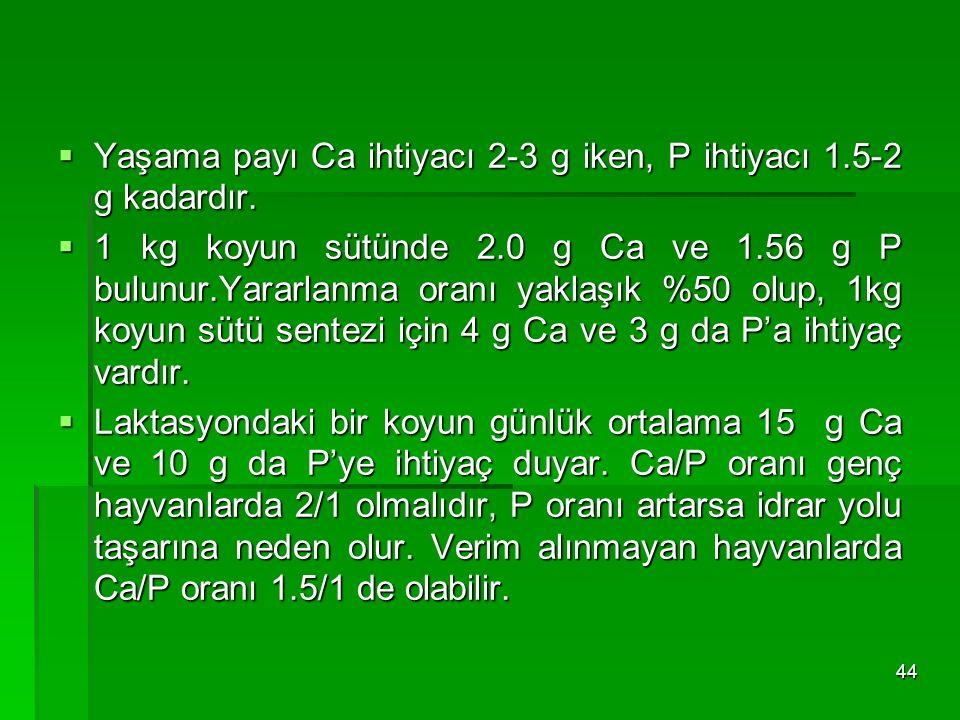 Yaşama payı Ca ihtiyacı 2-3 g iken, P ihtiyacı 1.5-2 g kadardır.
