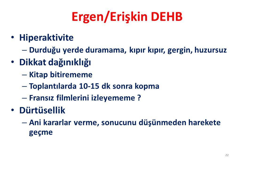 Ergen/Erişkin DEHB Hiperaktivite Dikkat dağınıklığı Dürtüsellik