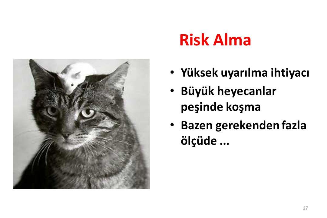 Risk Alma Yüksek uyarılma ihtiyacı Büyük heyecanlar peşinde koşma